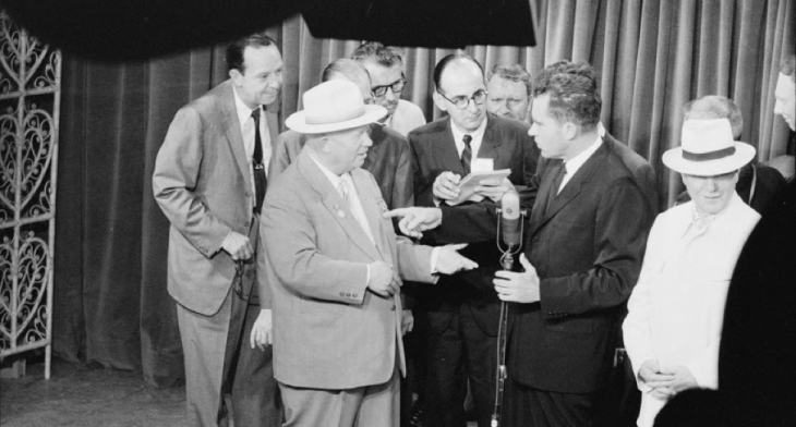 Premier Nikita Khrushchev and Vice President Richard Nixon on TV at the opening of the American National Exhibition, Moscow, 1959. Photograph by Thomas J. O'Halloran. Library of Congress Prints and Photographs Division, U.S. News & World Report Magazine Photograph Collection.