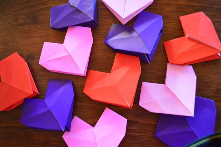 Red, purple, and pink paper hearts