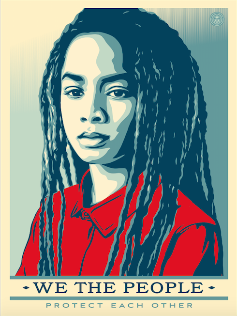 """""""We the people protect each other."""" Shepard Fairey red, white, blue image of African American child with long dreadlocks."""