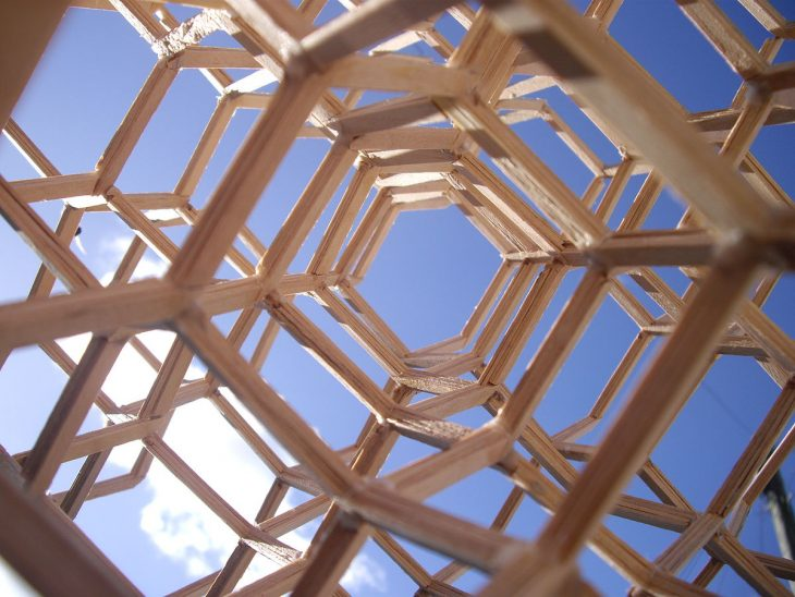 Looking through a set of frames up to the sky