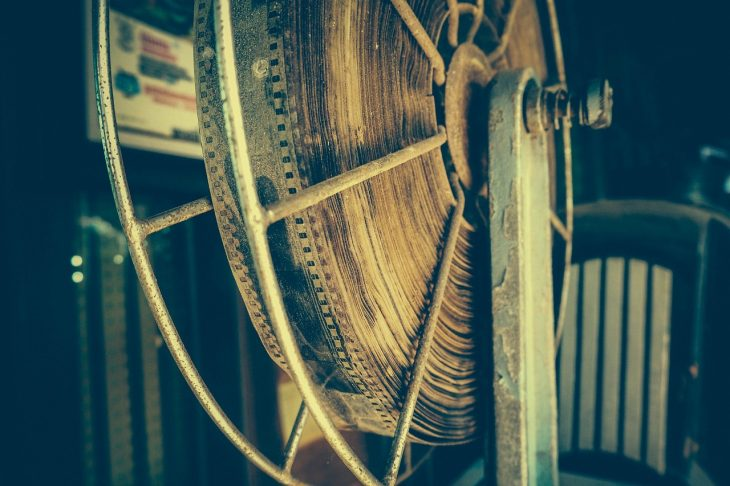 Dusty antique film on reel.