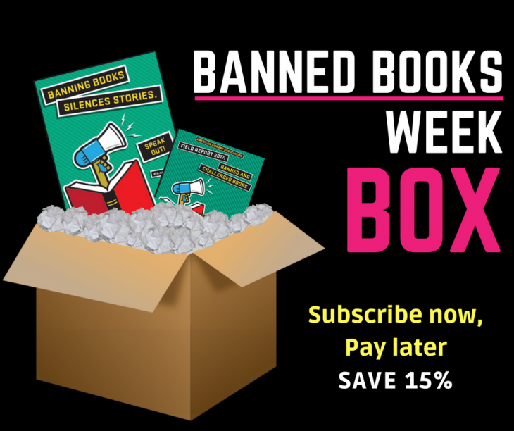 Banned Books Week Box with a poster and Field Report in an open box.