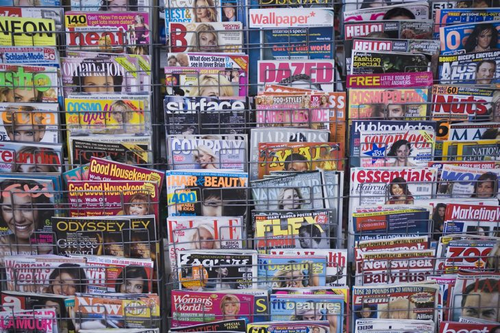 magazine covers in a magazine rack