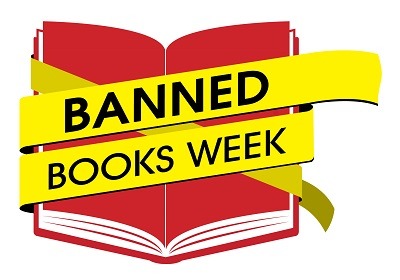 "Clip art of open red book with yellow caution tape across it reading ""Banned Books Week"""