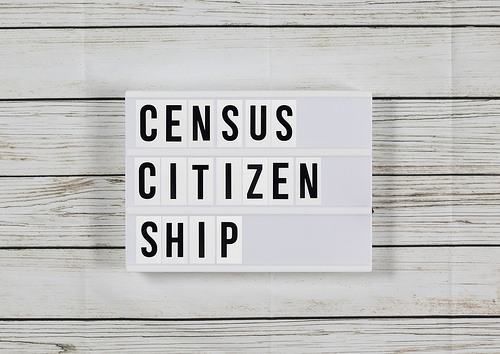 """Marquee sign with """"Census Citizenship"""" on it, on a wood plank background"""