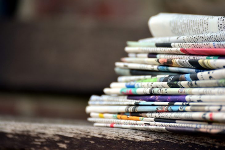 newspapers, paper stack, press