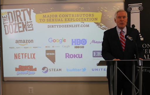 Patrick A. Trueman, NCOSE President. Screenshot from NCOSE's 2019 Dirty Dozen List Reveal event. https://vimeo.com/316642443