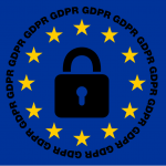Clip-art image of the blue European Union flag with a lock in the middle, surrounded by a circle of yellow stars and the acronym GDPR.