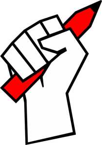 Raised fist holding a pencil symbolizing freedom of the press