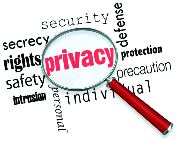 Word cloud with magnifying glass highlighting the term privacy