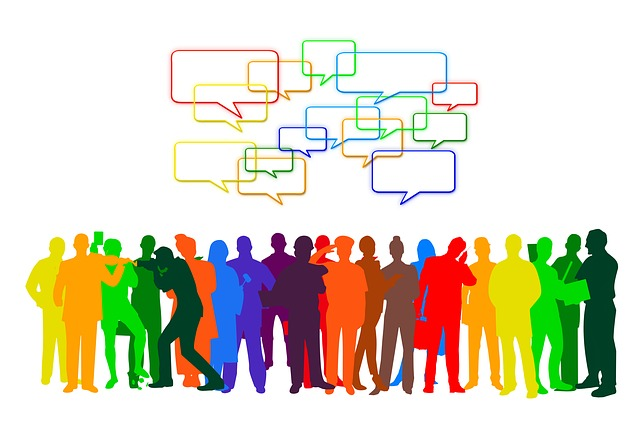 icons of several people in rainbow of colors with speech bubbles above