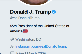 Snap shot showing the President's Twitter account