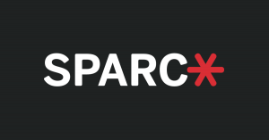SPARC logo, the text in white letters and a red asterisk at the end""