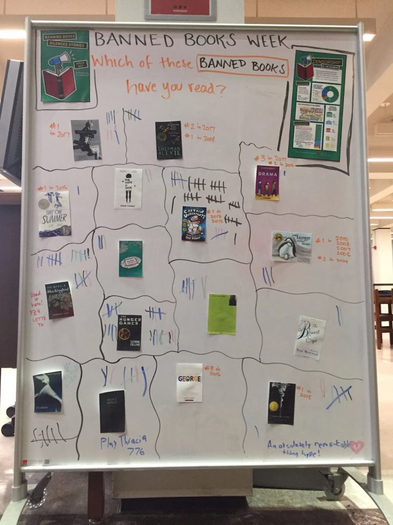 Whiteboard survey of Banned Books Week 2018 with images of book covers and ALA graphics, and handwritten tally marks