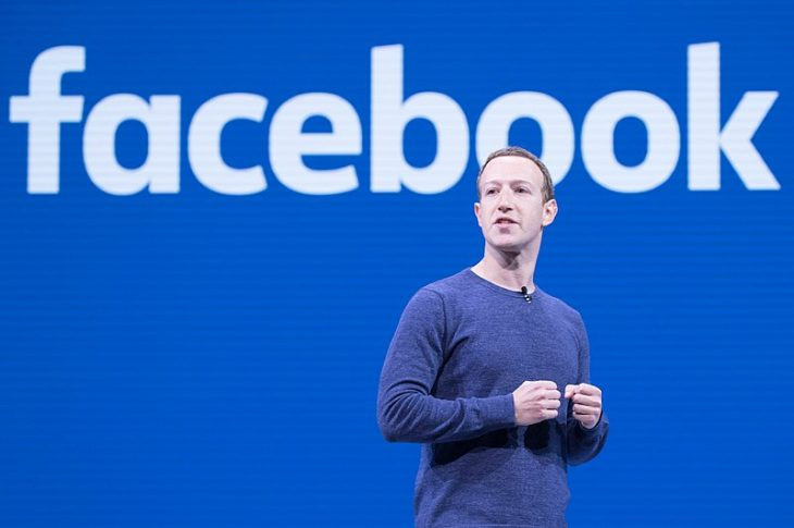 Mark Zuckerberg during a 2018 keynote by Anthony Quintano.
