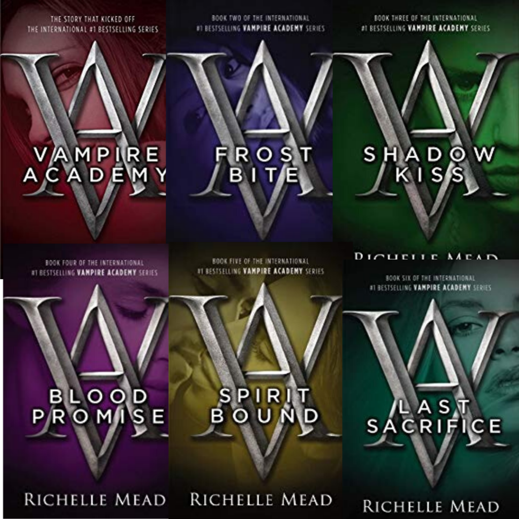 Covers from Vampire Academy series by Richelle Mead