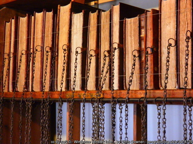 Wimborne Minster: later books in the chained library image: