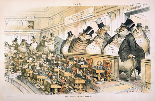 The Bosses of the Senate political cartoon by Joseph Keppler, 1889. This cartoon poked fun at the concentration of industry to the point of monopoly and the effect of those monopolies on politics prior to the passage of the Sherman AntiTrust Act.