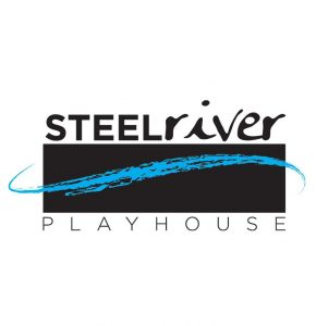 Steel River Playhouse in black letters with a splash of blue