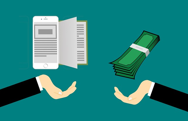 Two cartoon hands reaching out from each side of the picture, one with an ereader and the other with a stack of money