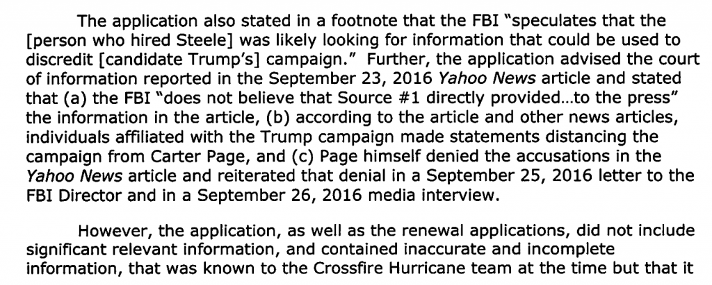 Excerpt from the Department of Justice Inspector General December 2019 report, Review of Four FISA Applications and Other Aspects of the FBI's Crossfire Hurricane Investigation.