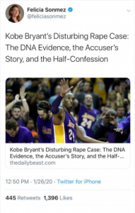 Felicia Sonmez's original tweet: Kobe Bryant's distrubing rape case: The DNA evidence, the accusser's story and the half-confession.