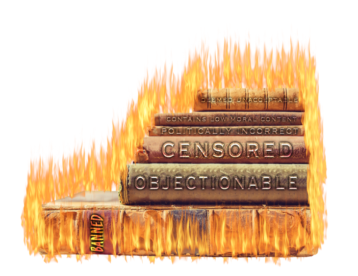 """Stack of books on fire, labeled """"objectionable,"""" """"banned,"""" on spines"""