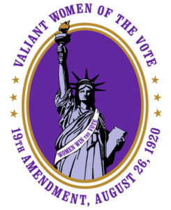 Valiant women of the vote with Statue of Liberty, women's history month logo from National Women's History Alliance © NWHA 2019