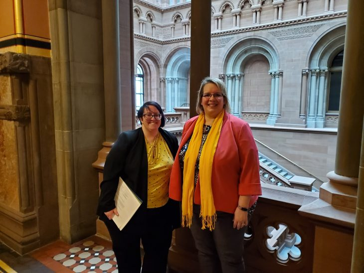 Lisa Hoover, Public Services Librarian at Clarkson University, and Michelle Young, Dean of Libraries at Clarkson University, at the NYS Capitol building on Legislative Advocacy Day. Photo by Ginger Tebo, School Library System Director at St. Lawrence-Lewis BOCES.