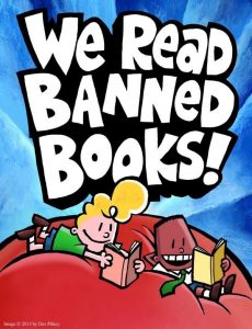 We Read Banned Books George and Harold poster. Credit: Dav Pilkey.