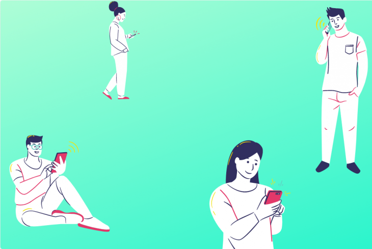 Cartoon illustration of 4 people checking their phones for notifications