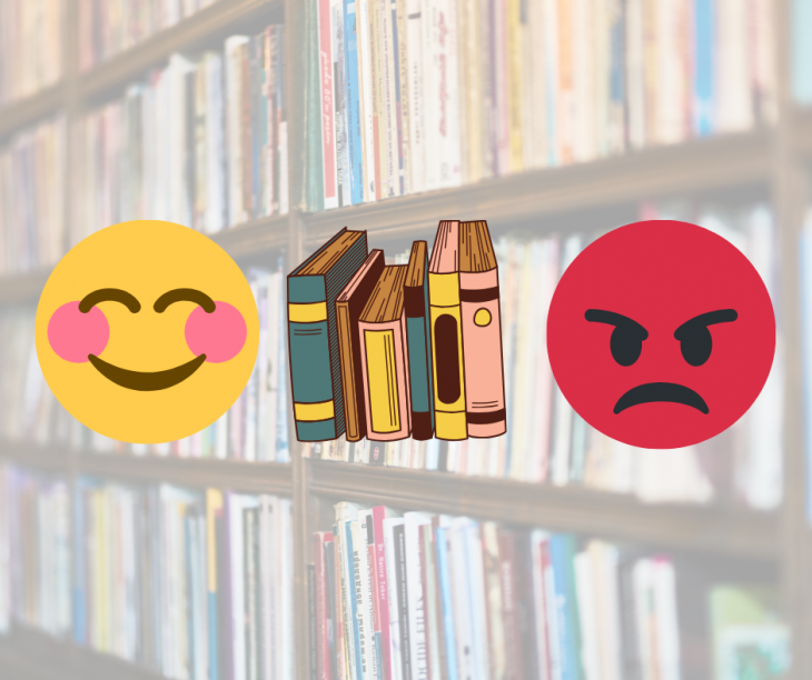 A happy-face emoji, a row of books, and an angry-face emoji are in line against a faded bookshelf backdrop
