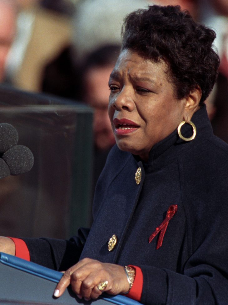 Maya Angelou standing at lecturn at President Clinton's inauguration