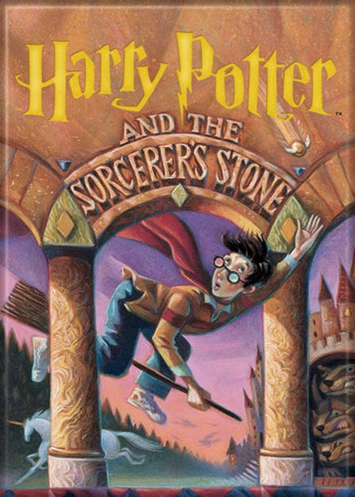 Harry Potter and the Sorcerer's Stone book cover showing Harry flying on a broom attempting to catch the Snitch