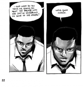 "Excerpt from March Book Two, page 22; John Lewis insists ""We're gonna march,"" despite potential violence from the police."