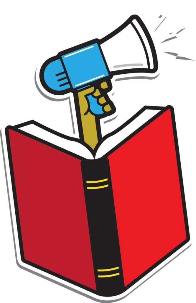 Open book with a hand holding a megaphone coming out of it.