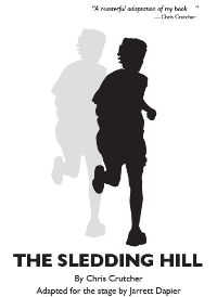 Cover of The Sledding Hill play adaptation, showing the shadow of a child running