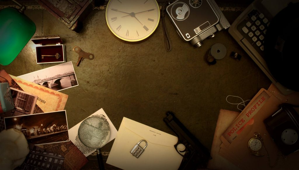 Clues are situated in a circle formation, including photographs, a clock, a letter, a lock, files, and a camera.