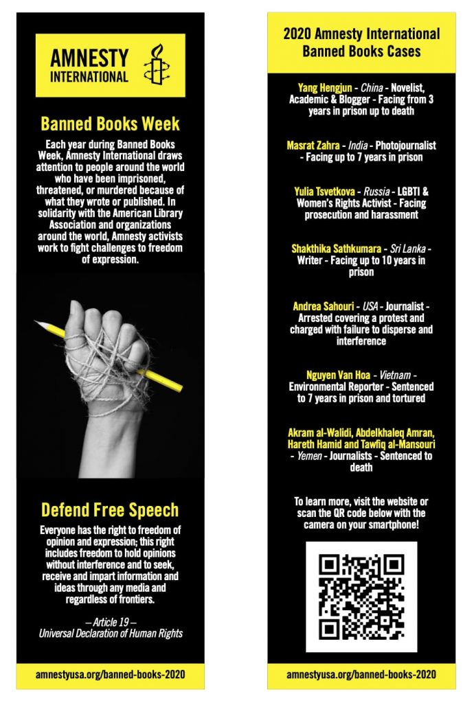 AIUSA Banned Books Week bookmarks