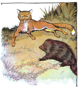 An illustration of the fox and the hedgehog by Laura K Gibbs.