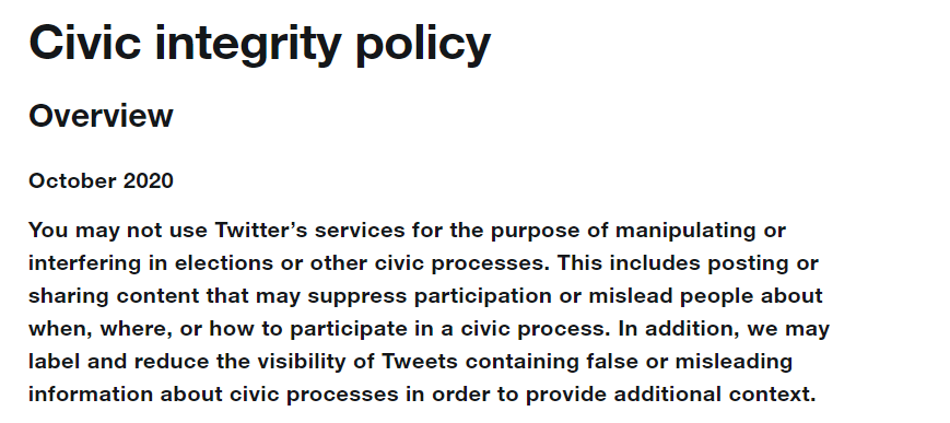 Twitter civic integrity policy