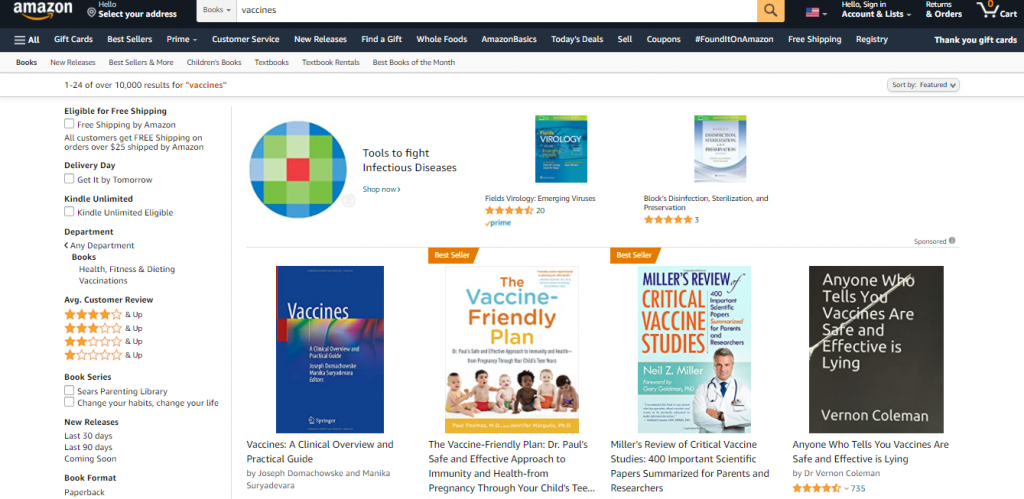 """Screenshot of Amazon search results page after searching """"Vaccines"""" in the Books category."""