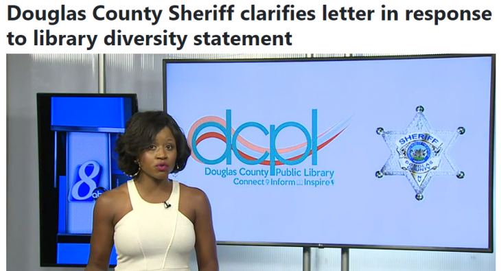 "KOLO 8 News Screenshot ""Douglas County Sheriff clarifies letter in response to library diversity statement"""