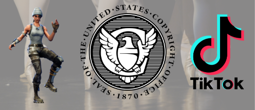 Left to Right: Fortnite Dancing Character, US Copyright Office Seal, TikTok logo
