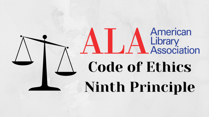 """Marble background with Scales of Justice on the left and the words """"Code of Ethics Ninth Principle"""" on the right"""