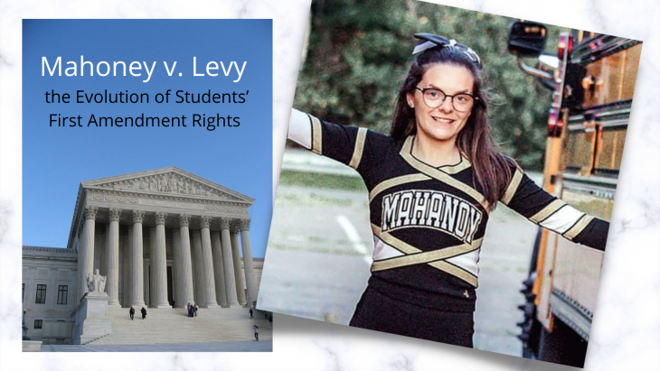 Photo of Brandi Levy in high school, wearing a Mahoney High School cheerleading uniform and holding gold pom poms. in front of the supreme court