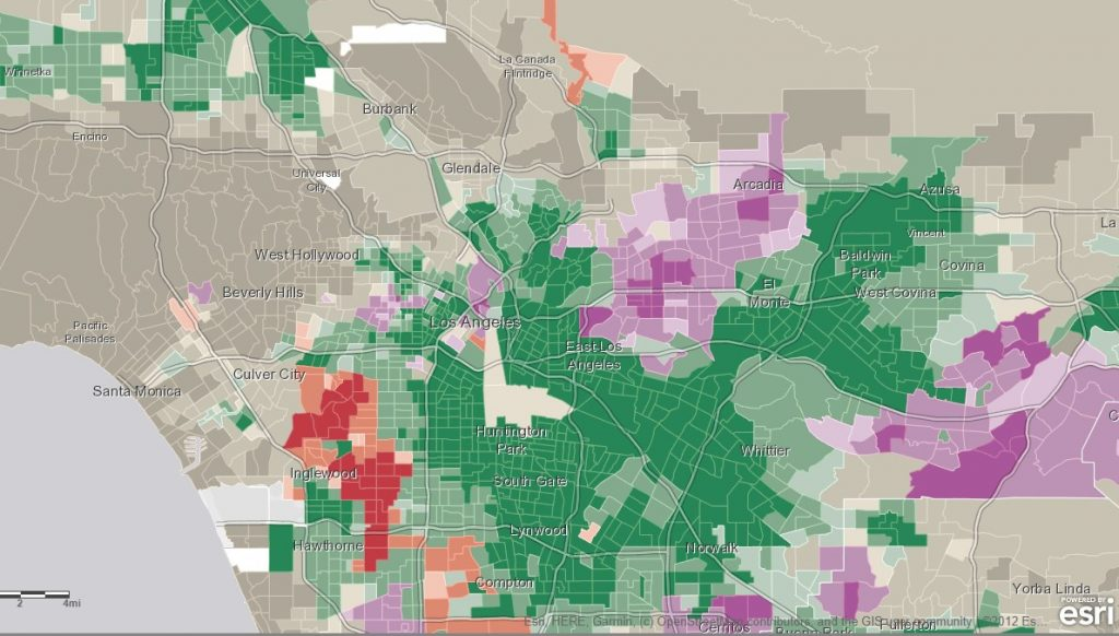 Racial Demographic Map of Los Angeles, California using the Predominant Populations in the U.S.A. interactive map.