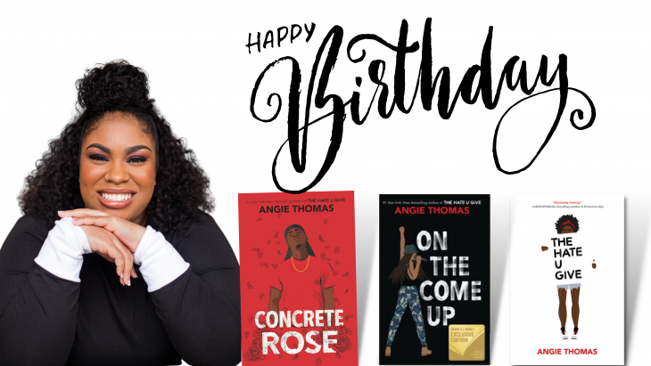 Angie Thomas and covers of her novels, The Hate U Give, Concrete Rose, and On the Come Up