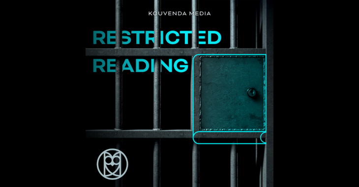 Kouvenda Media Restricted Reading. Image of jail cell door with the lock replaced with a closed book