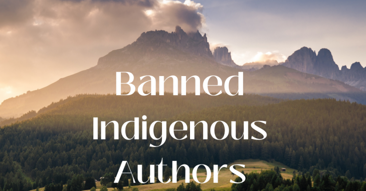 Banned Indigenous Authors text in front of mountain background